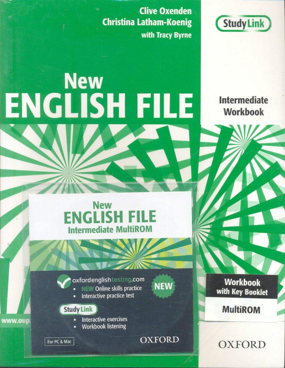 NEW ENGLISH FILE INTERMEDIATE WORKBOOK + KEY + MULTIROM B1<br>УЧЕБНА ТЕТРАДКА ПО АНГЛИЙСКИ ЕЗИК